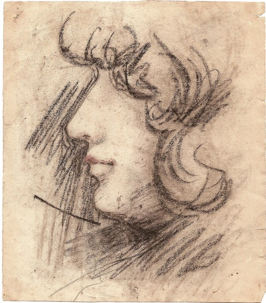 A-067 – Portret zwart krijt opgehoogd 196×171