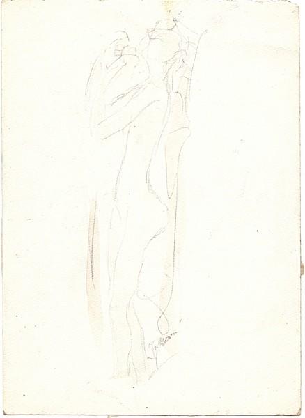 A-081 – Staand naakt potlood aquarel 180×130