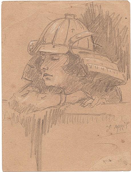 A-093 – Vrouw met helm potlood 178×135