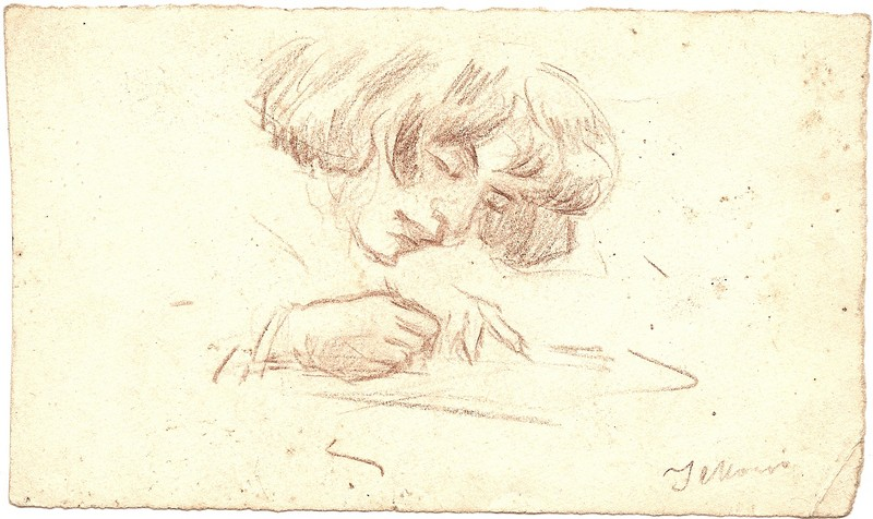 A-096 – Vrouw schrijvend potlood 79×134