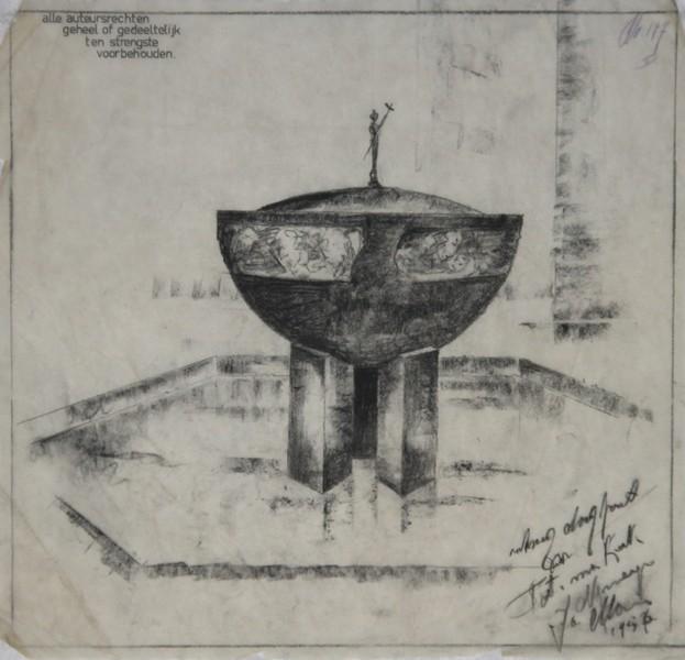 D-042 – 1956 Fatimakerk Nijmegen ontwerpschets doopvont
