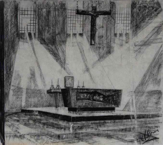 D-055 – 1958 Ontwerp altaar zou Afferden L. zijn (1)