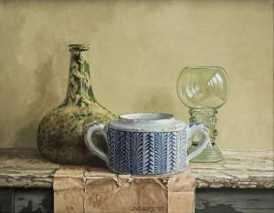 Stilleven met Delftsblauw suikerpotje25 x 31,5 cm (2007)(Jacques W. Maris)